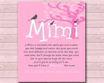 Mimi - Gift from Grandchildren - Can Be Personalized with We or I Love You Mimi, With Grandchildrens Names - Any Color Available