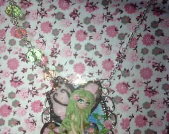 fimo cameo necklace little fairy kawaii