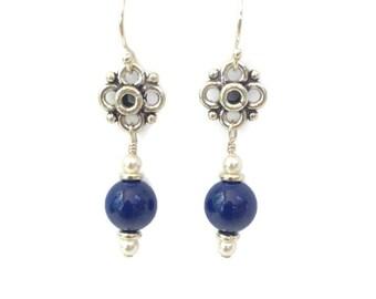 Blue Bead Earrings, Silver Flower Earrings, Navy Blue Beaded Earrings, Handmade Jewelry, Women's Jewelry Gift Under 20, Mother's Day Gift