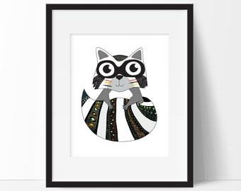Tribal Raccoon Art Print - Tribal Decor - Raccoon Art - Woodland Nursery Print - Forest Animal Print - Nursery Decor - Animal Nursery