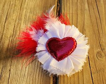Hair Accessory, Girls Accessory, Spring White Flower, Shabby Flower, Valentine Flower, Red and White Feathers, White Flower, Baby Accessory