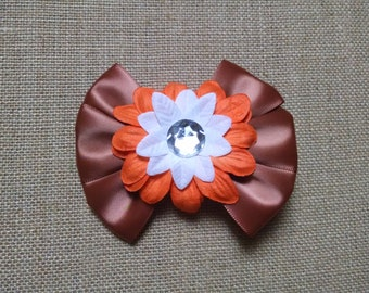 Brown Flower Hairbow, Orange Hairbow, Fall Hairbow, Thanksgiving Hairbow, Girls Hairbow, Toddler Hairbow, Little Girls Hairbow