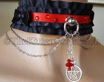 "SALE! 15"" Black and Red Double Ruffle Pentagram Halloween Kittenplay Petplay Collar"