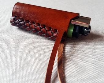 Genuine Leather Lighter Cover. Handmade, handbraided, 100% Fair Trade!!