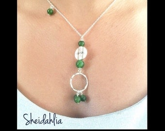 Jade Necklace- Sterling Silver, Natural Jade, Natural faceted jade, Unique pendant, Green jade, Saint Patrick Day, May birthstone color