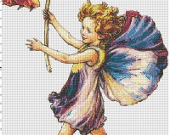 Pansy Fairy - Vintage Cross Stitch Pattern - Instant Download