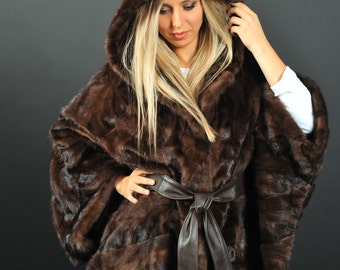 Real Mink Fur Cape with Hood