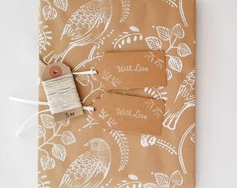 Essentials Gift Wrap Kit: Handmade Kraft Wrapping Paper Sheet, 2 Gift Tags, 5m Hemp Twine.