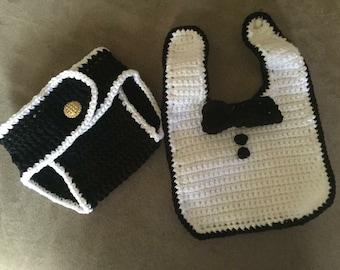 Tuxedo Bib with Matching Diaper Cover