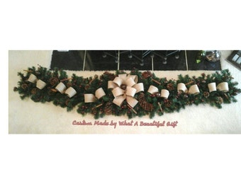 Christmas Burlap Garland, SHIPPING INCLUDED, Fireplace Mantel, Buffet, Entertainment Center Rustic Country Garland Swag Holiday Decor
