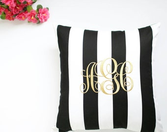 Personalized Striped Pillow Cover, Monogrammed Striped Pillow, Initial Pillow Cover, Monogram Stripes Pillow Cover, Decorative Pillow