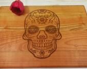 SUGAR SKULL. Lazer engraved cutting board. Choping block