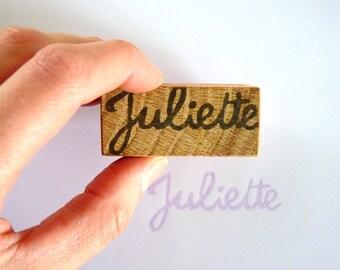 Tampon-prénom personnalisable, lettre cursive, lettre attachée, signature, sceau, prénom, tampon personnalisé, bois recyclé
