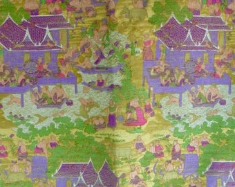 Exotic Thai Pure Silk Fabric Asian Handpainted