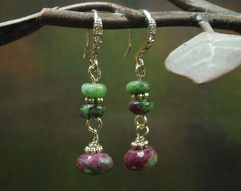 Faceted Natural Ruby Earrings/ Natural Ruby Zoisite Earrings/ natural color ruby jewelry