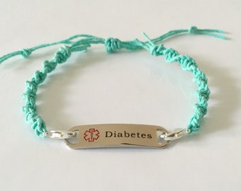 Medical Alert Diabetes Bracelet, Macrame, interchangeable, Adjustable size