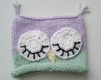 Sleeping Owl hat, photo prop, newborn hat, baby shower, mint purple owl hat, sleepy owl hat