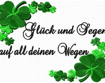 2 embroidery files luck and blessings with clover instant download