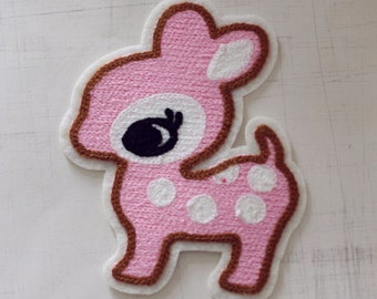 12 x 9.8cm, Pink Bambi Iron On Patch (P-162)