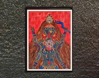 Goddess kali on watercolor paper-Relgious Indian art print-Hindu god Unframed print, Reincarnation of Durga or shakti-8*10 inches