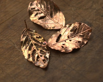 Perforated metal leaves, real leaves electroformed with copper, cherry leaves with holes,metal leaf pendant,electroforming,botanical jewelry