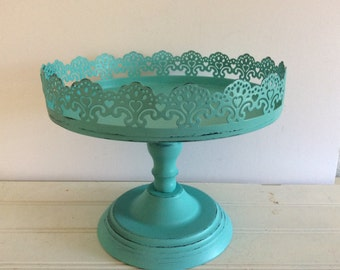 Turquoise Pedestal Display Stand - Shabby Cottage Chic - Cupcake Display - French Cottage - Filigree - Small Cake Plate - Beach - Distressed