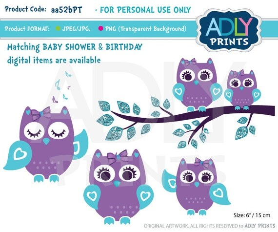 Purple Teal Girl Owl Clipart for Baby Shower Birthdayall