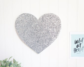 Silver Glitter Heart Hanging for Gallery Wall Home Decor