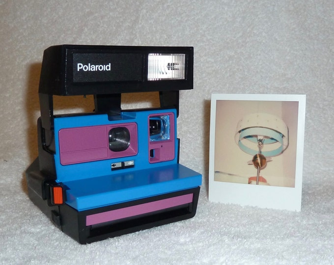 Upcycled Blue and Purple Polaroid Sun 600 OneStep - Cleaned and Tested