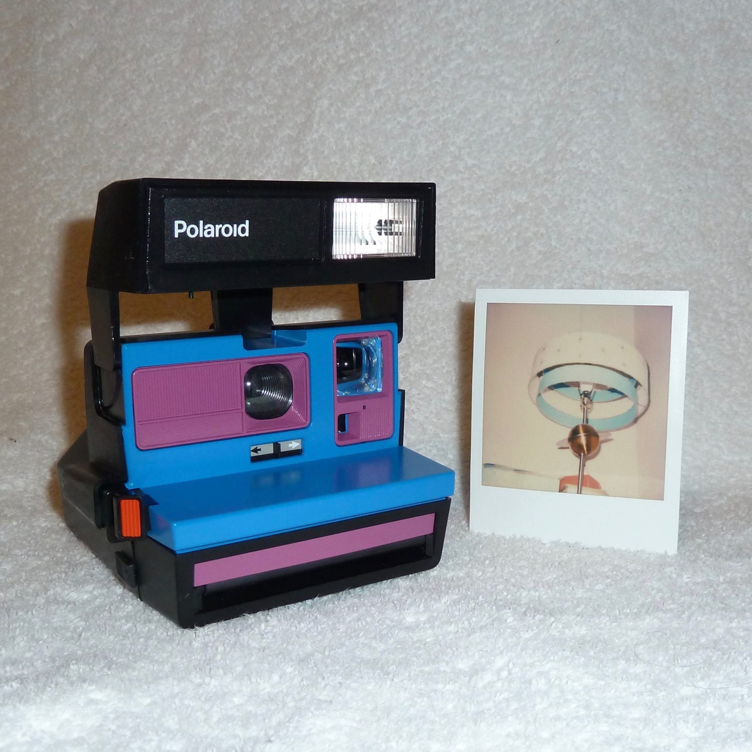 upcycled blue and purple polaroid sun 600 onestep cleaned and tested. Black Bedroom Furniture Sets. Home Design Ideas