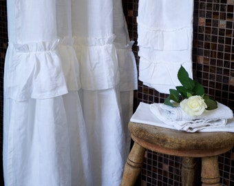 Linen Shower Curtain - Plain or Ruffled Made to Measure - 100% stonewashed linen. Premium Quality