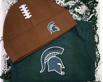 Michigan State Spartans Baby Bodysuit & Football Cap Gift Set