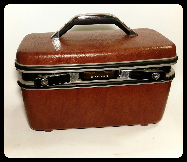 vintage samsonite silouette brown train case samsonite cosmetic case make up case storage box. Black Bedroom Furniture Sets. Home Design Ideas