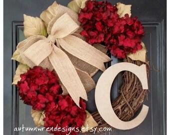 WINTER Wreath, Gold Wreath, Winter Door Decor, Door Wreath, Red Hydrangea Wreath with Burlap Bow