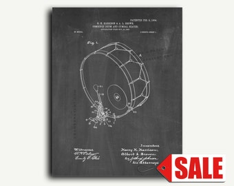 Patent Print - Combined Drum And Cymbal Beater Patent Wall Art Poster