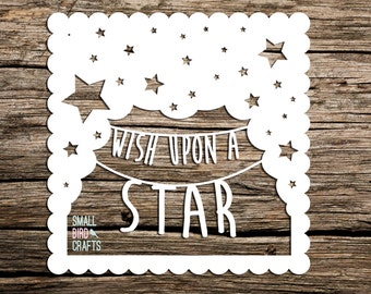 Commercial Use, Paper Cutting Template, Wish Upon A Star, Papercut, Stars Papercut, Typography Papercut, Quote Papercut, Nursery,
