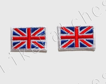 Set 2pcs. Little English Flags - Flag of England New Sew / Iron On Patches Embroidered Applique Size 3cm.x2cm.