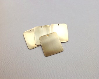 UK Made brass metal tag blanks. 0.7mm (21gauge) thick and 25mm x 30mm for hand stamping or etching