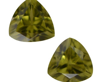 Italian Idocrase Set of 2 Trillion Cut Loose Gemstones 1A Quality 4mm TGW 0.35 cts