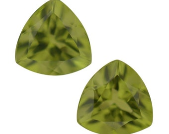 Hebei Peridot Loose Gemstones Set of 2 Trillion Cut 1A Quality 7mm 2.15 cts.