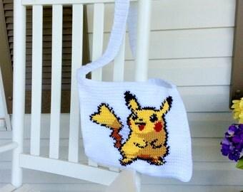 OOAK Pikachu Messenger Bag, Pokemon Shoulder Tote or Purse