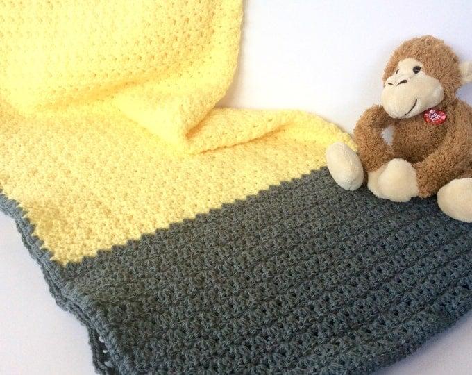 Yellow and Gray Baby Blanket, Crochet Baby Blanket, Boy or Girl Baby Blanket, Grey and Yellow Nursery Decor, Baby Shower Gift