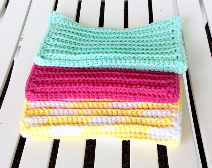 Cotton Crochet Washcloths or Dish Cloths Set of 3