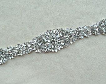Wedding sash, Bridal applique,Rhinestone applique,Crystal applique for Bridal Sash,Beaded Applique,  applique trim , Wedding belt,AW18