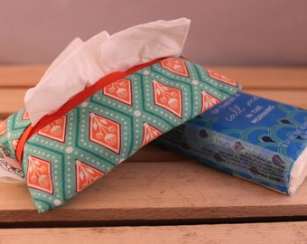Paper tissue pouch - Turquoise and orange diamonds