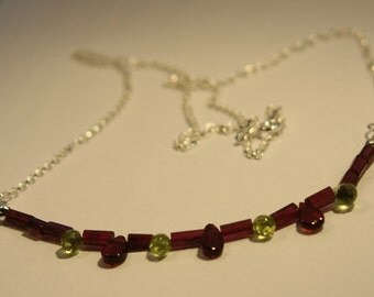 Garnet and Peridot sterling silver necklace