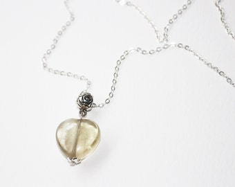 Heart pendant necklace rock crystal, silver chain, serenity and anti-stress