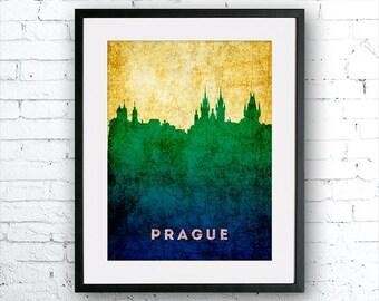 Prague illustration Art Print, Prague painting, Czech Republic art, poster, cityscape, city art, urban, city wall art, art print,