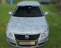 Black Rattan hearts with twigs to decorate white wedding car DEK1201