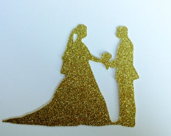 Bride & Groom Glitter Die Cuts - Wedding Party Decorations - Card Topper - Card Making, Scrapbooking